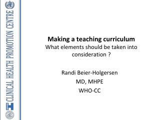 Making a teaching curriculum What elements should be taken into consideration ?