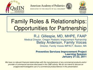 Family Roles & Relationships: Opportunities for Partnership