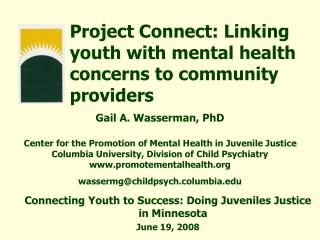 Project Connect: Linking youth with mental health concerns to community providers
