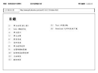 目錄 2 :  單元首頁 ( 第三層 ) 3 :   Info  課程資訊 4 :  單元簡介 5 :  單元目標 6 :  學習資源 7 :  資料來源 8 :  單元使用說明
