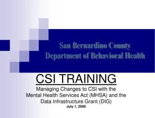 San Bernardino County Department of Behavioral Health