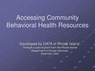 Accessing Community Behavioral Health Resources