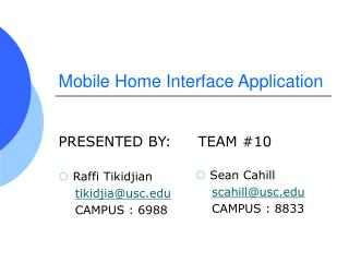 Mobile Home Interface Application