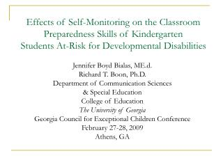 Effects of Self-Monitoring on the Classroom Preparedness Skills of Kindergarten Students At-Risk for Developmental Disab