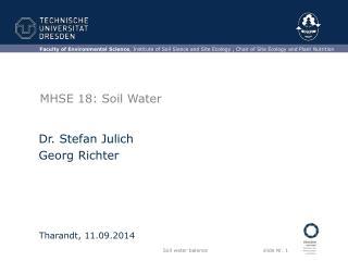 MHSE 18: Soil Water