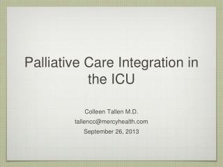 Palliative Care Integration in the ICU