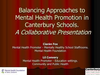 Ciarán Fox Mental Health Promoter - Mentally Healthy School Staffrooms.  Mental Health Foundation