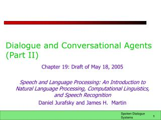 Dialogue and Conversational Agents (Part II)