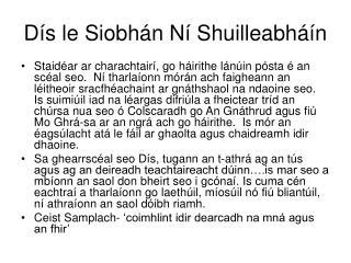 Dís le Siobhán Ní Shuilleabháín