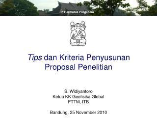 S. Widiyantoro Ketua KK Geofisika Global FTTM, ITB Bandung, 25 November 2010