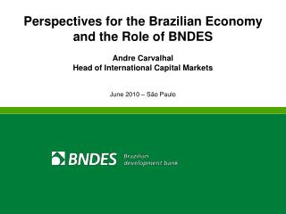 Perspectives for the Brazilian Economy and the Role of BNDES Andre Carvalhal