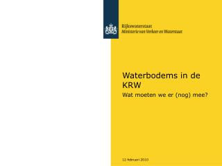 Waterbodems in de KRW