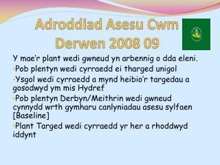 Adroddiad Asesu Cwm Derwen  2008 09