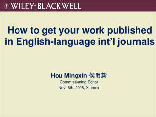 How to get your work published in English-language int'l journals