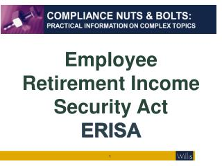 Employee Retirement Income Security Act ERISA