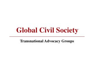Global Civil Society Transnational Advocacy Groups