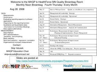 Contact:    Skip Valusek   MHQP Education Chair skipvalusek@comcast