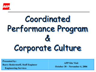 Coordinated Performance Program  Corporate Culture