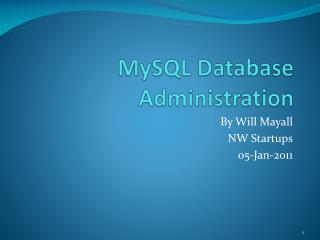 MySQL  Database Administration