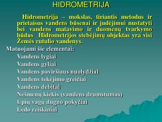 HIDROMETRIJA