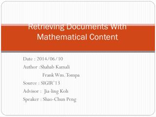 Retrieving Documents With Mathematical Content