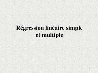 Régression linéaire simple et multiple