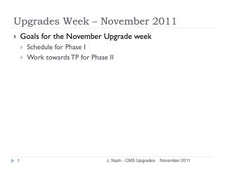 Upgrades Week – November 2011