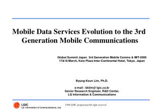 Mobile Data Services Evolution to the 3rd  Generation Mobile Communications