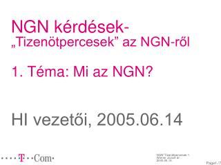 """NGN kérdések- """"Tizenötpercesek"""" az NGN-ről 1. Téma: Mi az NGN? HI vezetői, 2005.06.14"""