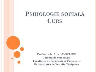 Psihologie socială Curs