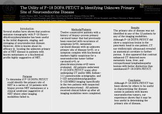 The Utility of F-18 DOPA PET/CT in Identifying Unknown Primary Site of Neuroendocrine Disease