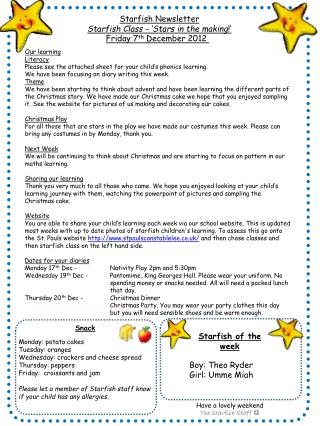 Starfish Newsletter Starfish Class - �Stars in the making !�