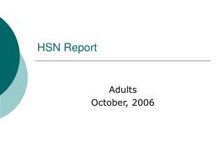 HSN Report