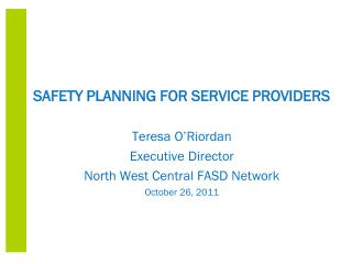 SAFETY PLANNING FOR SERVICE PROVIDERS Teresa O'Riordan Executive Director