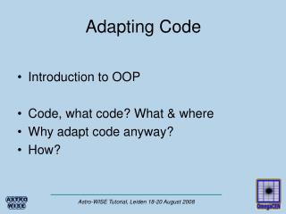 Adapting Code