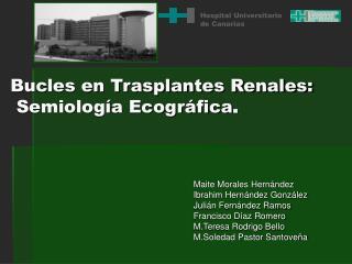 Bucles en Trasplantes Renales:   Semiología Ecográfica .