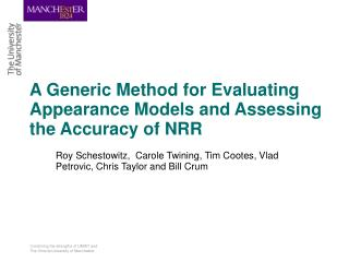 A Generic Method for Evaluating Appearance Models and Assessing the Accuracy of NRR