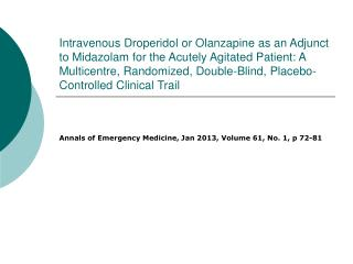 Annals of Emergency Medicine, Jan 2013, Volume 61, No. 1, p 72-81