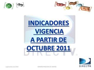 INDICADORES  VIGENCIA  A PARTIR DE  OCTUBRE 2011
