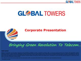 Corporate Presentation Bringing Green Revolution To Telecom…