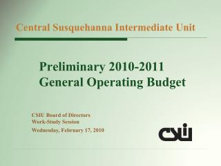 Preliminary 2010-2011 General Operating Budget