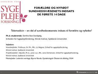 Ph.d.-studerende:  Dorthe Boe Danbjørg,