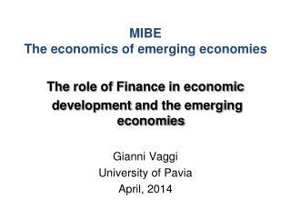 MIBE The economics of emerging economies