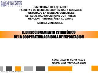 EL DIRECCIONAMIENTO ESTRATÉGICO  DE LA COOPERATIVA AGRÍCOLA DE EXPORTACIÓN