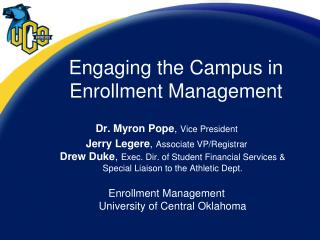 Engaging the Campus in Enrollment Management