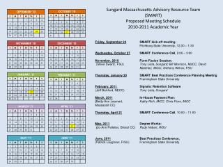 Sungard  Massachusetts Advisory Resource Team (SMART) Proposed Meeting  Schedule