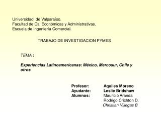 Universidad  de Valparaíso. Facultad de Cs. Económicas y Administrativas.