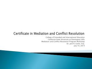 Certificate in Mediation and Conflict Resolution