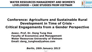 WATER RESOURCES MANAGEMENT AND WOMEN'S LIVELIHOOD – CASE STUDIES FROM VIETNAM