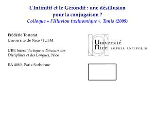 Frédéric Torterat Université de Nice / IUFM URE  Interdidactique et Discours des